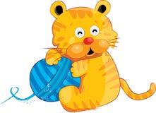 逗人喜爱的老虎向量黄色 免版税图库摄影
