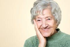逗人喜爱的老资深夫人画象 免版税图库摄影