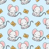 逗人喜爱的老鼠和乳酪无缝的样式背景 库存例证