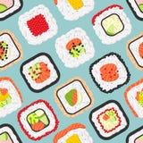 逗人喜爱的色的寿司卷的无缝的样式 免版税库存图片