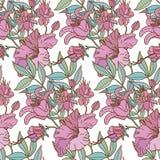 逗人喜爱的花卉无缝的样式背景 免版税库存照片
