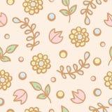 逗人喜爱的花无缝的样式背景  库存例证