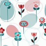 逗人喜爱的花,无缝 库存图片