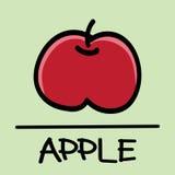 逗人喜爱的苹果手拉的样式,传染媒介例证 免版税库存照片