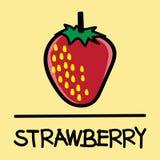 逗人喜爱的草莓手拉的样式,传染媒介例证 免版税库存照片