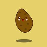 逗人喜爱的菜土豆漫画人物平的设计传染媒介例证 库存图片