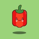 逗人喜爱的菜胡椒漫画人物平的设计传染媒介例证 库存图片