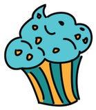 逗人喜爱的蓝色杯形蛋糕 库存图片
