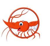 逗人喜爱的虾动画片有背景 免版税库存照片