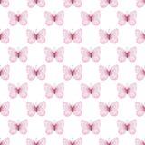 逗人喜爱的蝴蝶无缝的水彩样式 库存例证