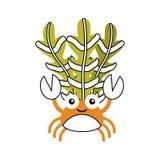 逗人喜爱的螃蟹sealife字符 库存照片