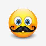 逗人喜爱的行家微笑的意思号,与髭emoji,面带笑容-导航例证 库存例证