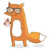 逗人喜爱的行家狐狸佩带的玻璃用咖啡 向量例证