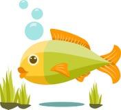 逗人喜爱的被隔绝的传染媒介鱼动画片 图库摄影