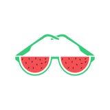 逗人喜爱的西瓜玻璃 也corel凹道例证向量 免版税库存照片