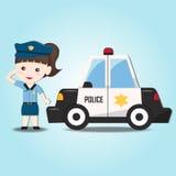 逗人喜爱的警察和汽车 免版税图库摄影