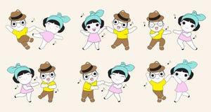 逗人喜爱的跳舞夫妇漫画人物例证集合 库存例证