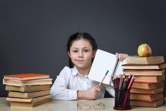 逗人喜爱的辛勤孩子坐在书桌户内 孩子在黑板背景的类学会  免版税库存图片
