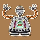 逗人喜爱的钢机器人传染媒介设计 库存照片
