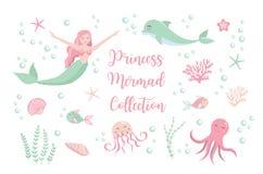 逗人喜爱的集合小的美人鱼公主和海豚,章鱼,鱼,水母,珊瑚 水下的世界收藏 向量例证