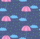 逗人喜爱的雨无缝的传染媒介样式 免版税库存图片