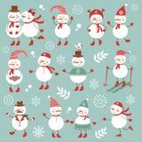 逗人喜爱的雪人收藏 免版税库存图片
