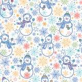 逗人喜爱的雪人无缝的样式背景 免版税库存照片