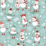 逗人喜爱的雪人无缝的样式 库存图片