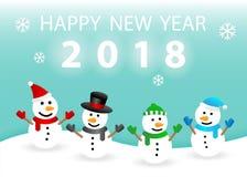 逗人喜爱的雪人2018年新年快乐卡片 库存照片
