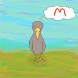 逗人喜爱的饥饿的乌鸦 动画片司令员枪他的例证战士秒表 图库摄影