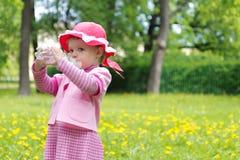 逗人喜爱的饮用的女孩少许公园水 免版税库存图片