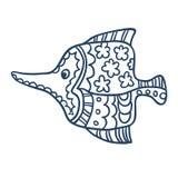 逗人喜爱的鱼动画片,线艺术,上色 免版税图库摄影