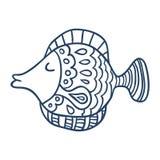 逗人喜爱的鱼动画片,线艺术,上色 免版税库存照片