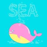 逗人喜爱的鲸鱼和泡影 库存照片