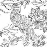 逗人喜爱的鹦鹉在幻想庭院里 库存图片