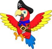 逗人喜爱的鹦鹉海盗动画片 免版税库存照片