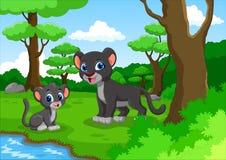 逗人喜爱的黑豹动画片在森林里 库存照片