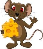 逗人喜爱的鼠标动画片用干酪 免版税库存照片