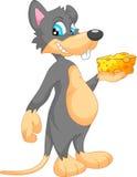 逗人喜爱的鼠标动画片用干酪 免版税库存图片