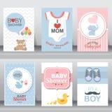 逗人喜爱的婴儿送礼会邀请 向量 免版税库存图片