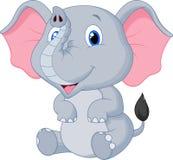 逗人喜爱的婴孩大象动画片 免版税库存图片