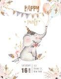 逗人喜爱的婴孩大象托儿所动物隔绝了孩子的例证 漂泊水彩boho森林大象家庭