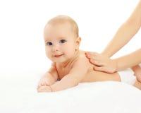 逗人喜爱的婴孩按摩后面 免版税库存照片