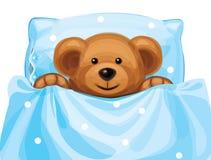 逗人喜爱的婴孩熊传染媒介在床上。 皇族释放例证