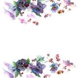 逗人喜爱的水彩花框架 库存照片