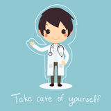 逗人喜爱的医生一致的听诊器保重  库存例证
