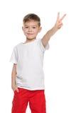 逗人喜爱的年轻男孩显示胜利标志 免版税库存图片