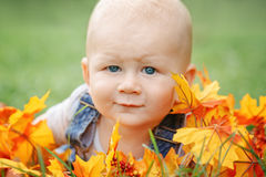 逗人喜爱的滑稽的可爱的白肤金发的白种人男婴特写镜头画象有蓝眼睛的在说谎在草地的T恤杉和牛仔裤连裤外衣我 免版税库存图片