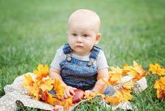 逗人喜爱的滑稽的可爱的白肤金发的白种人男婴画象有蓝眼睛的在T恤杉和牛仔裤连裤外衣坐草地草甸 库存照片
