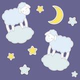 逗人喜爱的绵羊、月亮和星 免版税库存照片